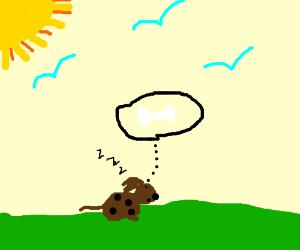 Puppy dreaming of a bone