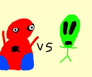 spooder man fights an alien