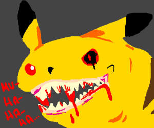 Evil Pikachu laughing