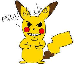 Evil Pikachu laughs manically