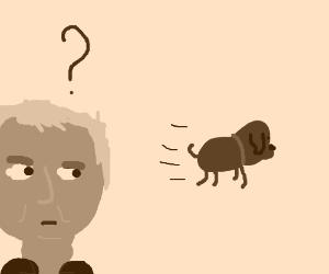 Alan Rickman wonders why his dog is fleeing.