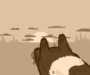 A lonesome dog in a post-apocalyptic wasteland