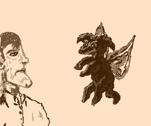 Flying dog bamboozles big chin guy