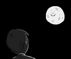 guy from behind looking at the moon
