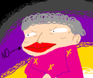 Dont Touch Old Lady S Big Red Lips Drawing By Anakensic