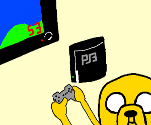 Jake the Dog, playing an older console.