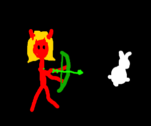 Devil archer girl hunts ghost rabbit for lunch