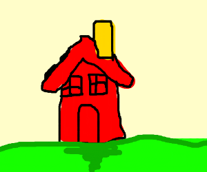 red house with a yellow chimney