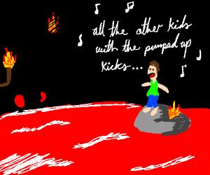 Man in hell is singing