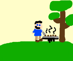 Man barbecuing next to tree.