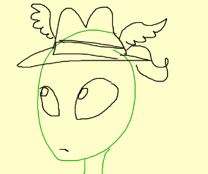 alien with weird hat