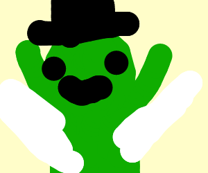 A green alien wearing a hat with wings