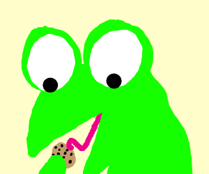 Big eyed frog about to eat a small cookie
