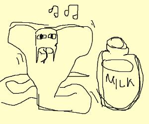 A snake dancing near milk