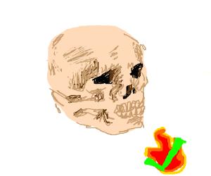 Skeleton Likes it HOT, like on fire hot