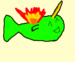 kawaii fish with unicorn horn which is on fire