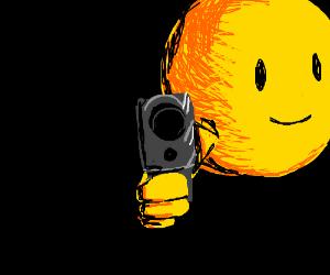 Smiley with a gun