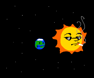 The sun smoking in front of the earth