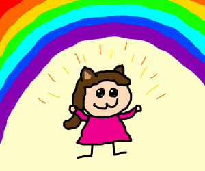kawaii person under a rainbow