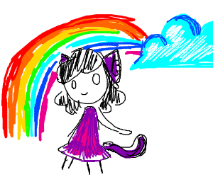 Kitten girl under a rainbow.