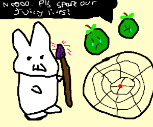 SHAMAN BUNNY SACRAFICES APPLES TO DREAMCATCHER