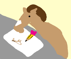 A horse drawing a stick figure horse