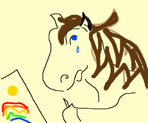 sad horse trying to draw