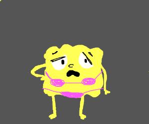 Spongebob in ugly bikini feels insecure