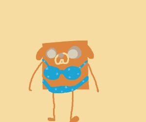 Square JakeTheDog wearing bikini