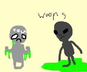 """Green alien """"accidentally"""" flicks goo at you"""