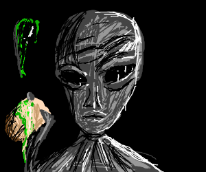 an alien soaps you with slime