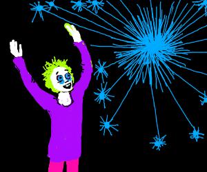 weird blue firework addict
