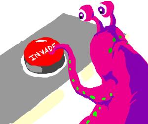 Purple Alien Presses Button