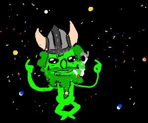 alien viking relaxing