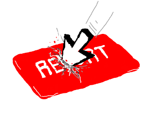 Mouse Cursor clicking big red Report button
