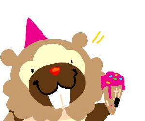 Badoof w/party hat and ice cream cone