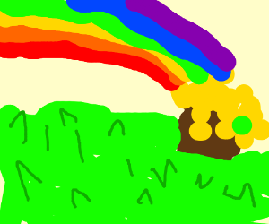 Rainbow leads to pot of gold