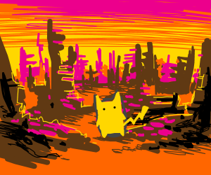 Pikachu in a post apocalyptic world