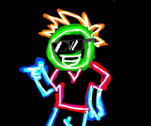 cool neon sign man
