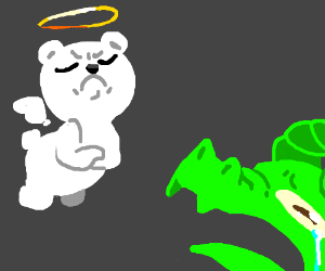 Angelic teddy bear thinks dragons are lame