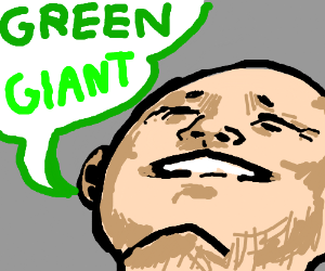 """Man Looks up exclaiming """"Green Giant :)"""""""