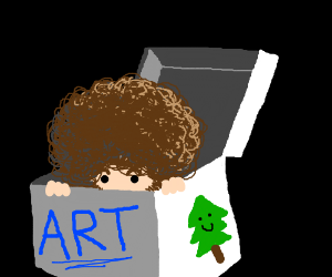 Bob Ross hides in the art box