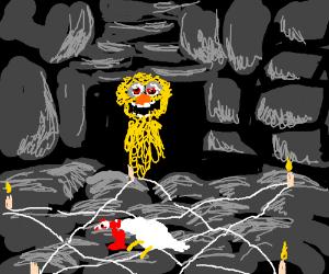 satanic ritual reanimate yellow muppet