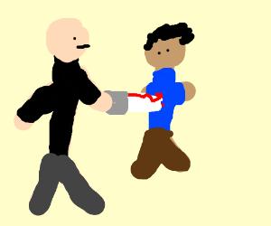 Bald Psychomaniac stabs person