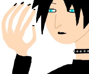 An emo guy with really odd and long fingers