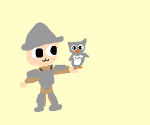 Armour person with a pet owl (?)