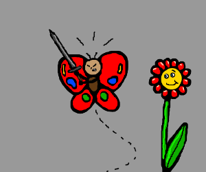 Butterfly Warrior defends flower