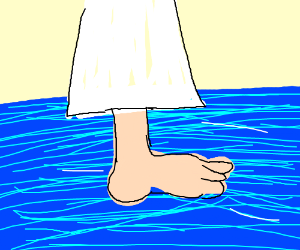 jesus walkin over water ucan only see his legs