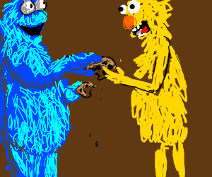 Cookie Monster shares cookie with Yellmo