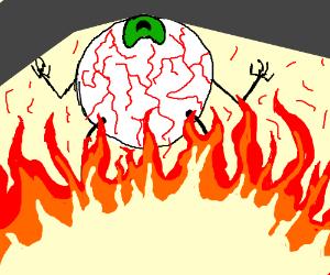 An eye over a fire